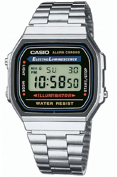 Электронные кварцевые мужские наручные часы Casio A-168WA-1 купить в интернет магазине WorldOfWatch.ru