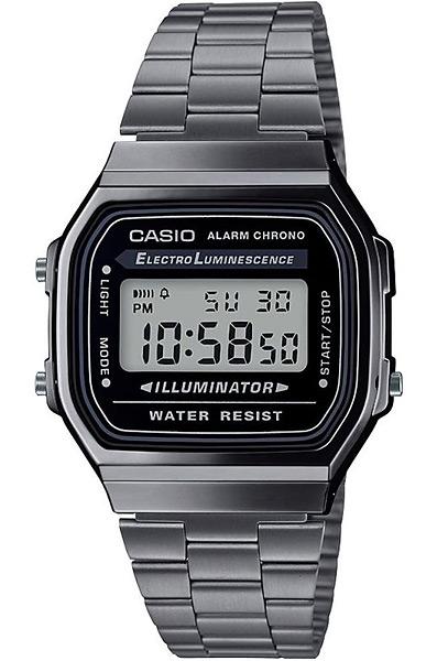 Электронные кварцевые мужские наручные часы Casio A168WEGG-1A купить в интернет магазине WorldOfWatch.ru