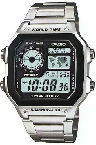 Электронные кварцевые мужские наручные часы Casio AE-1200WHD-1A купить в интернет магазине WorldOfWatch.ru