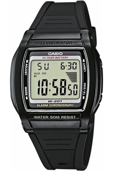 Электронные кварцевые мужские наручные часы Casio W-201-1A купить в интернет магазине WorldOfWatch.ru